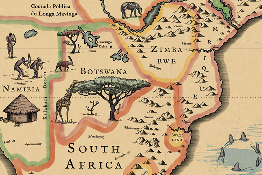 Grand World Map South Africa Closeup