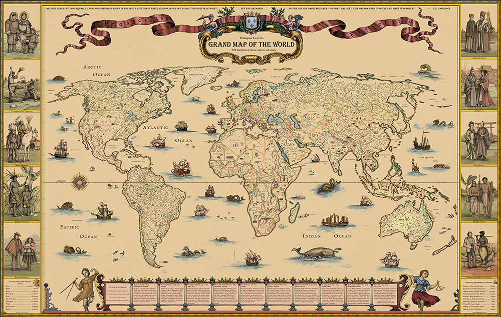 Wellingtons Travel - Hand-drawn Old Style World Map