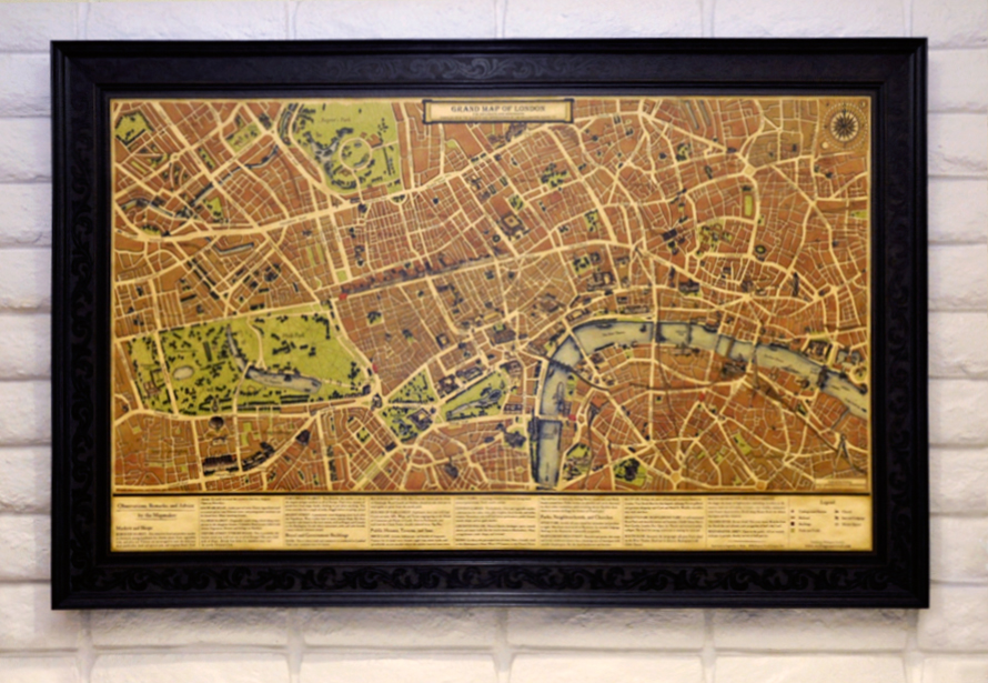 Old Vintage London Map on White Brick Wall